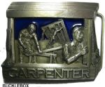 Carpenter Belt Buckle + display stand. Code EL1